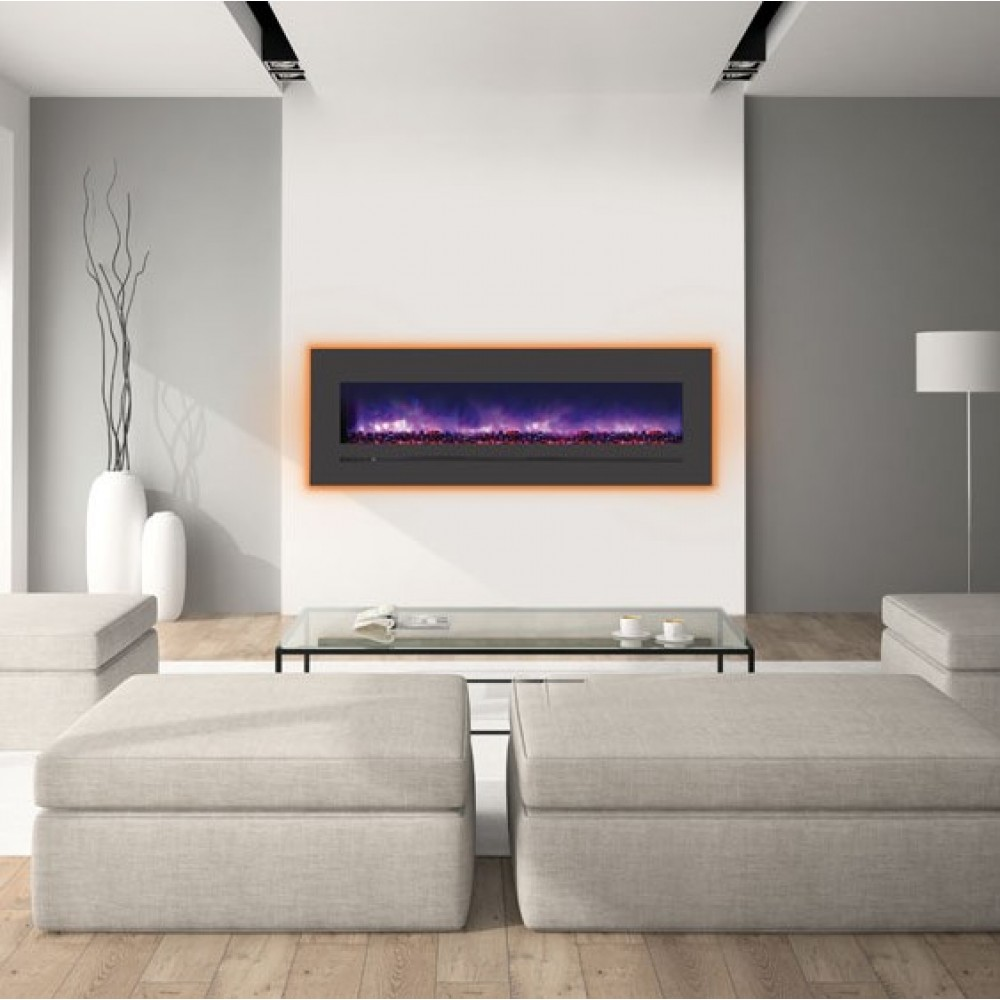 AMANTII® LINEAR SERIES™ WM-FML-60-6623-STL Electric Fireplace